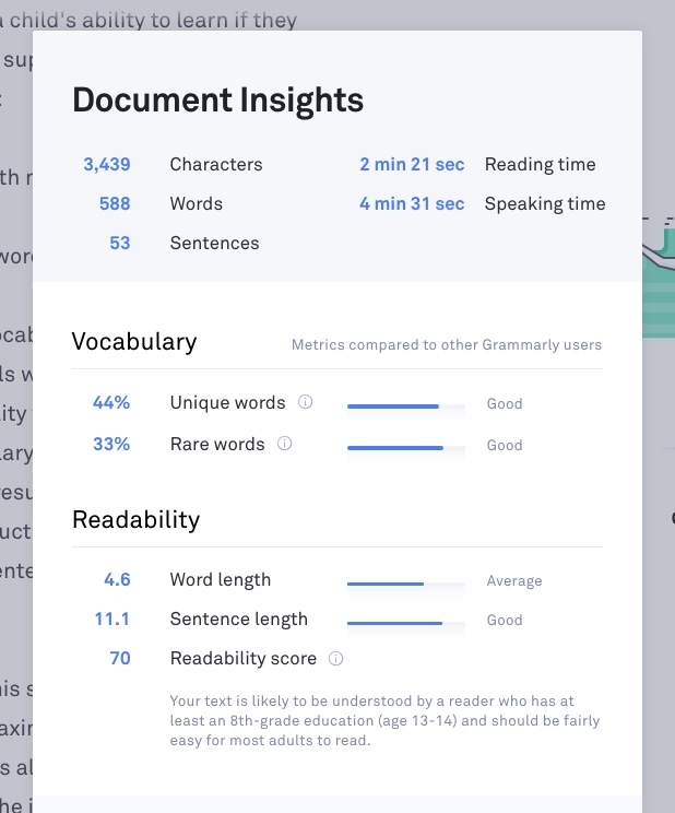 Grammarly app insights on vocabulary, reading level, word count.