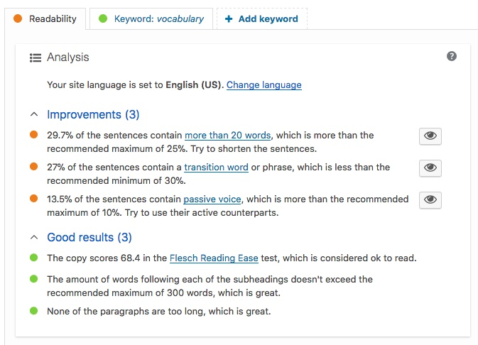 Readability of this article per Yoast SEO plugin