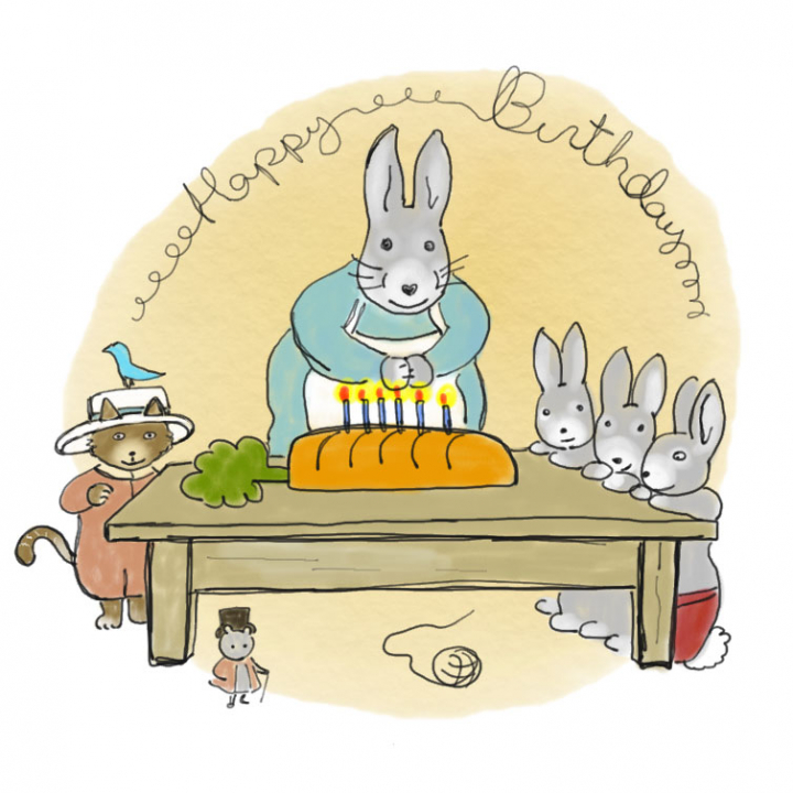 Mama Bunny surprises Fluffy with a big carrot cake and a surprise birthday party with all his friends.