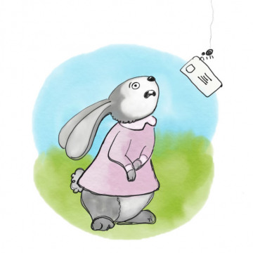 The scary spider steals Fluffy Bunny's very important letter.