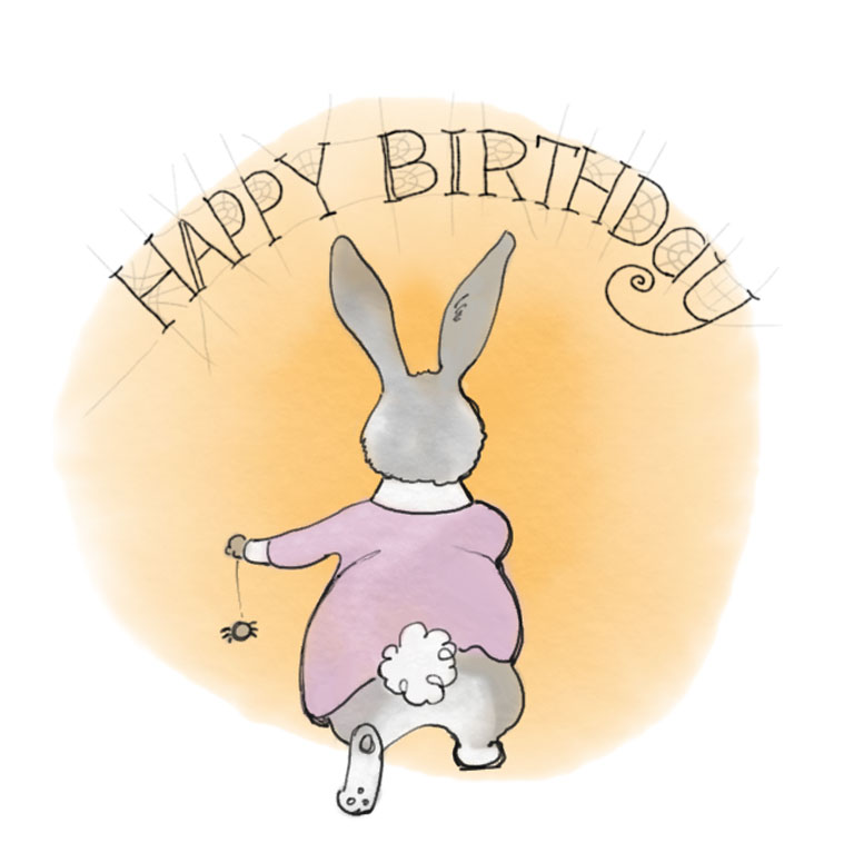 """Spider has written a """"Happy Birthday"""" to Fluffy Bunny in cob webs."""