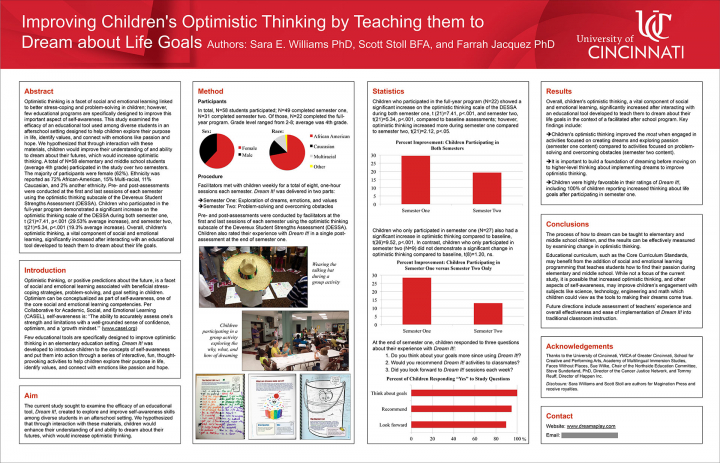 "Poster for study titled, ""Improving Children's Optimistic Thinking by Teaching them to Dream about Life Goals."" Abstract and results."