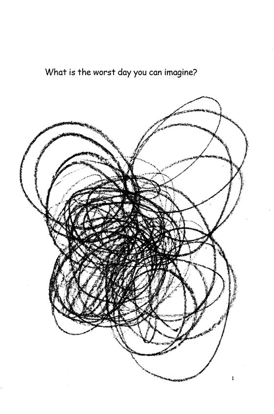 Illustration: A chaotic black scribble that looks like a butterfly. Note: All illustrations in the book were drawn by elementary school students while working with Scott as the author-in-residence.