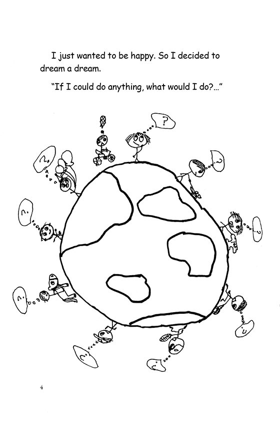 Illustration: Scott imagining cycling around the world and meeting lots of children and asking them questions. The kids are doing various things like playing and riding horses.
