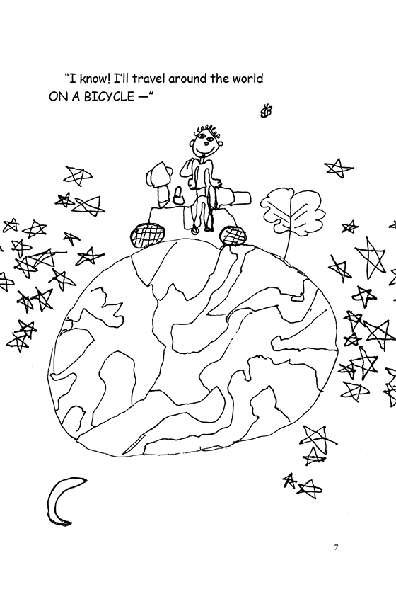 Illustration: Scott riding a bicycle on top of a tiny world floating in a sea of stars.