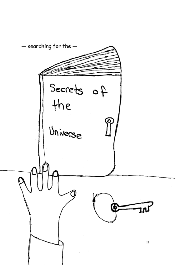 "Illustration: A book called ""Secrets of the Universe"" with a lock and key."
