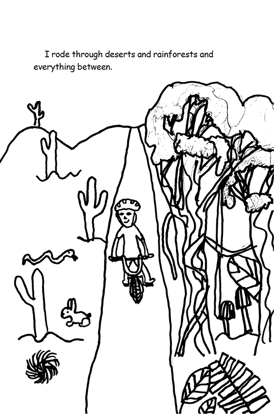 Illustration: Scott riding through a desert with a cactus, rabbit, rattlesnake tumbleweed, and more.