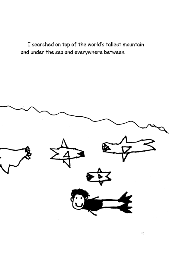 Illustration: Scott smiling and swimming under the ocean with the sharks.