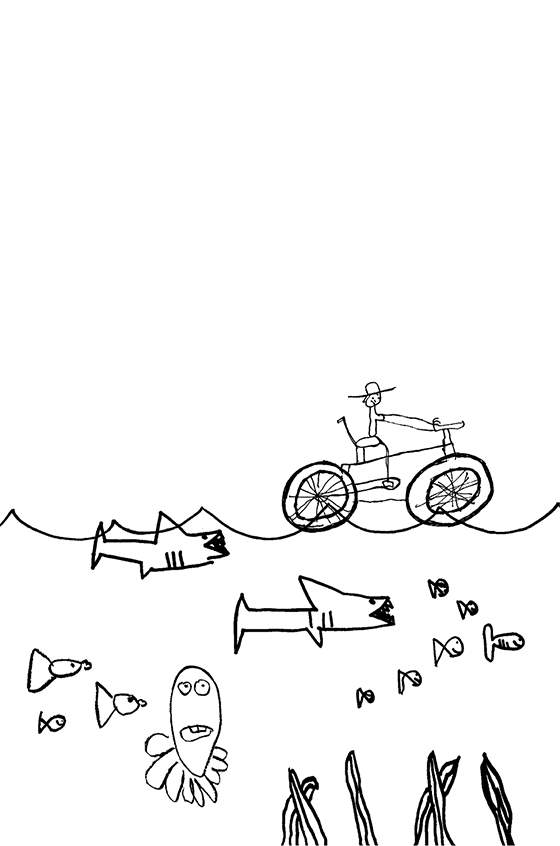 Illustration: Scott bicycling on the ocean. His tires are enormous and float. All the creatures of the sea stop to look.
