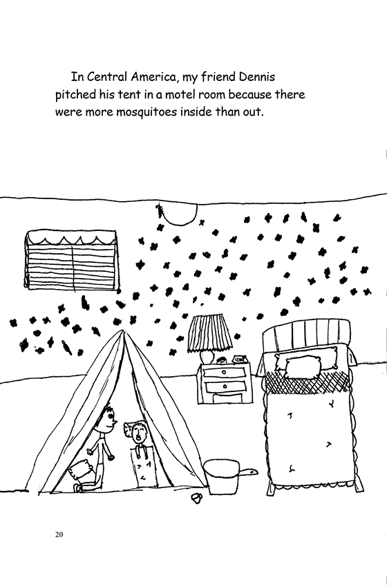 Illustration: Scott and Dennis camping inside a hotel room full of mosquitoes.