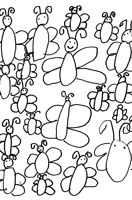 Illustration: A full page of butterflies.
