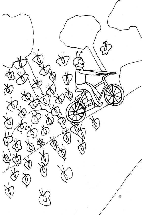 Illustration: Scott riding his bike with a bunch of butterflies following him and one leading the way. It looks like eco-friendly exhaust.