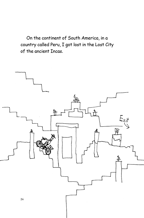 Illustration: Scott bicycling up a stair-stepped building in the Lost of City of the Incas.