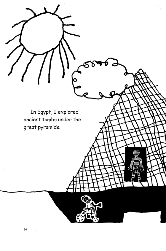 Illustration: Scott bicycling in the tombs beneath a pyramid with a mummy inside.