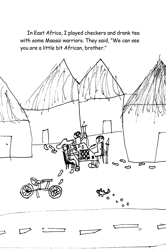Illustration: Scott playing checkers with some Maasai warriors holding spears. A lizard runs past.