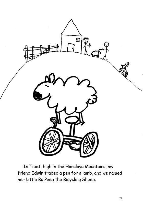 Illustration: A sheep riding a bicycle. In the background, two people trade a pen for lamb.