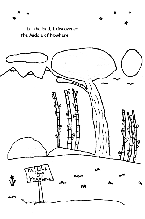 "Illustration: An alien-looking environment with a sign that says ""The Middle of Nowhere."""