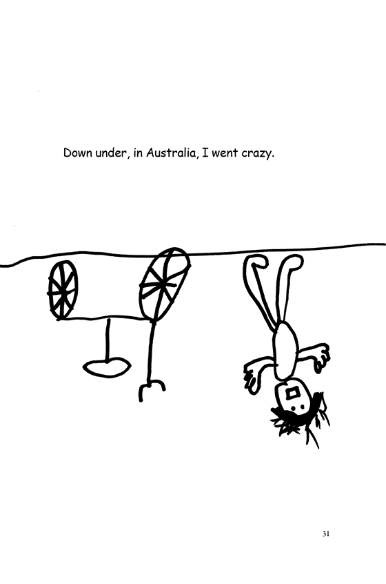 Illustration: An upside-down picture of Scott waving hello. Scott is on the bottom of the Earth.
