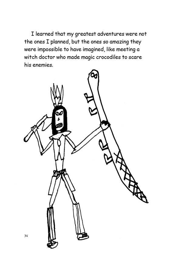 Illustration: A scary looking witch doctor holding an ax and a crocodile.
