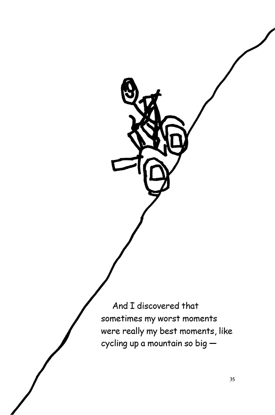 Illustration: Scott cycling up a steep mountain that goes from the bottom, lefthand corner to the top, righthand corner.