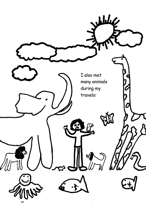 Illustration: Scott surrounded by animals: elephant, lion, octopus, mouse fish, dog, parrot, butterfly, giraffe, snake.