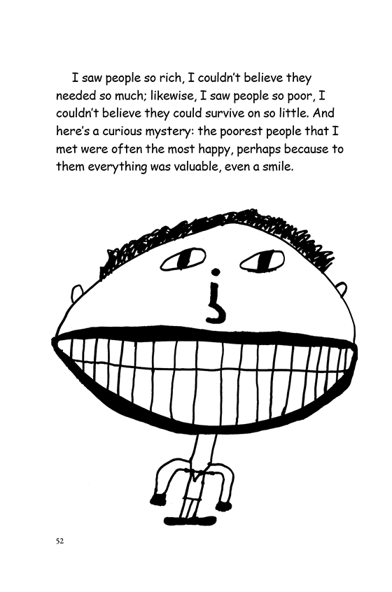 Illustration: A boy with a gigantic, toothy smile. His nose looks like an upside down question mark.