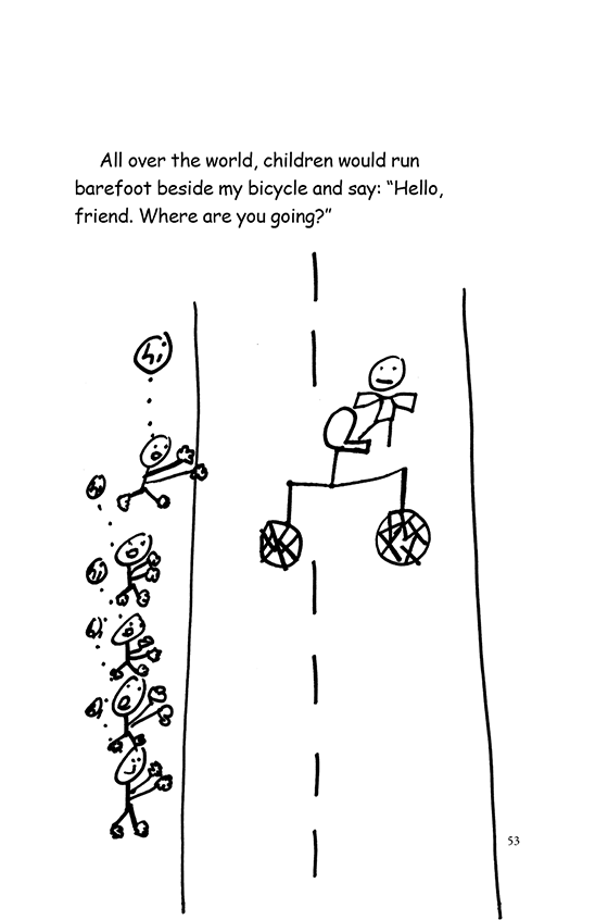 Illustration: Children shouting and chasing Scott riding a bicycle. The bicycle has just two wheels with a seat in the middle. Scott stands tippy-toe on the seat.