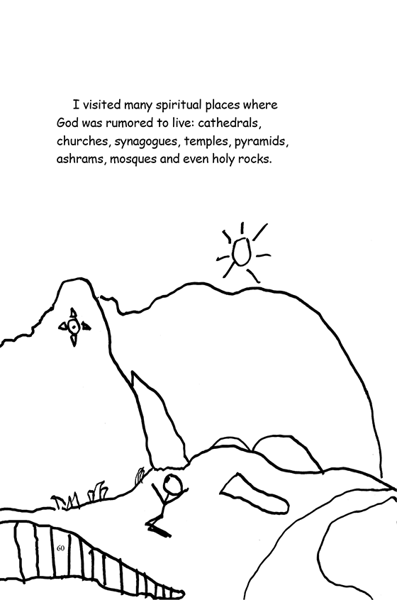 Illustration: Scott on his knees with arms in the air in front of a holy rock.