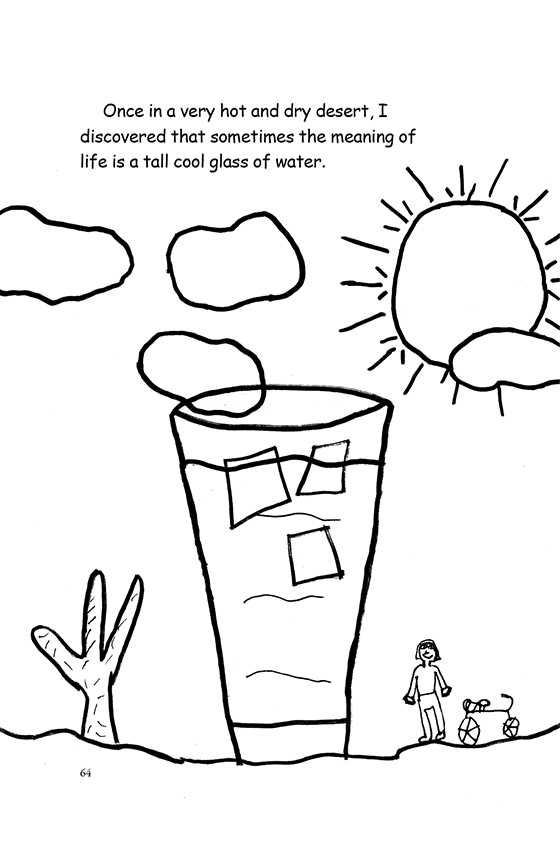 Illustration: Scott in the desert next to a cactus and a glass of ice water as big as a building.