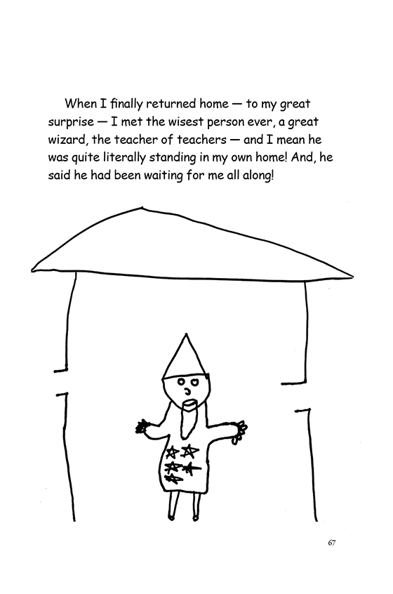 Illustration: A magician standing inside a house. He has a cone hat, goatee and a star-spangled dress.