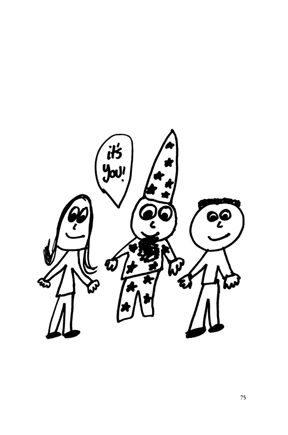 "Illustration: A wizard, girl and boy saying, ""It's you!"""