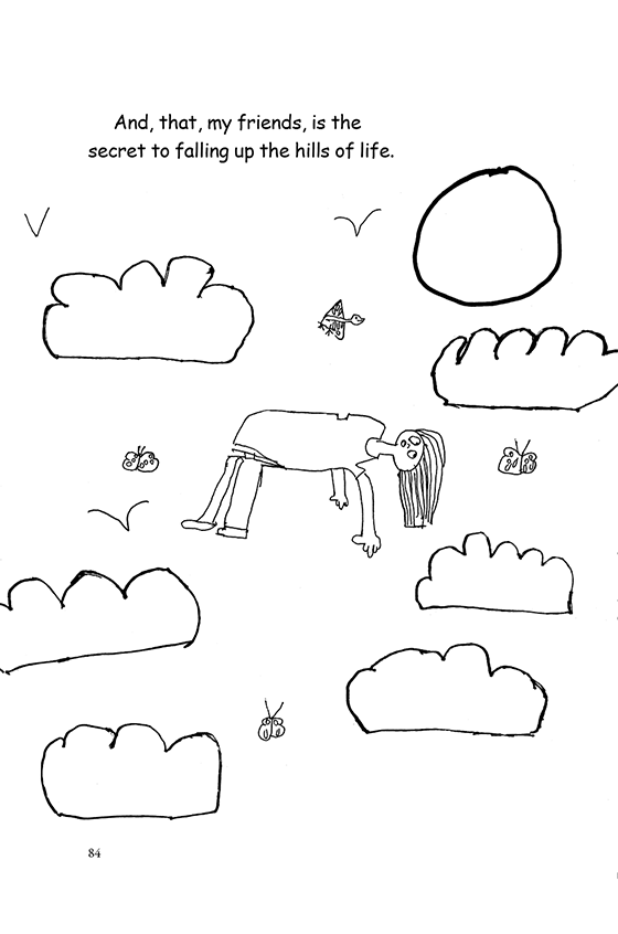 Illustration: A child falling uphill, floating into the sky full of clouds, birds and butterflies.