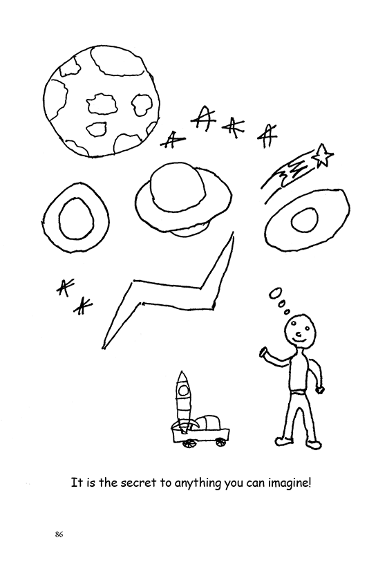 Illustration: A child with a toy rocket ship and truck. He imagines the planets and stars.