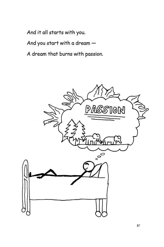 Illustration: A child in bed dreaming. The thought bubble is on fire. Inside the thought bubble are two elephants in the forest and the word PASSION.