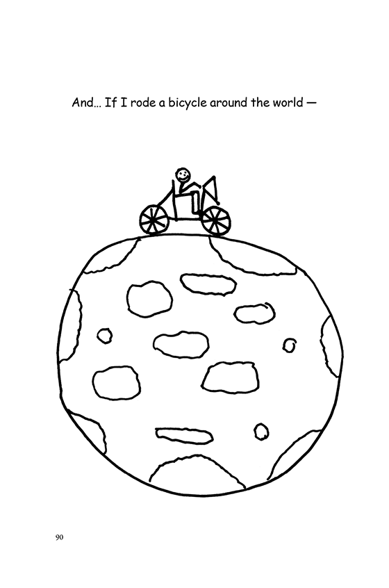 Illustration: Scott riding his bicycle on top of the world.