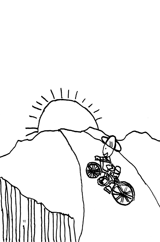 Illustration: Scott bicycling into the sunset.