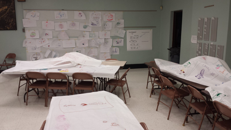 Dream Workshop Pilot Program. The aftermath of dream drawings. Note this is only 1 corner of the room.