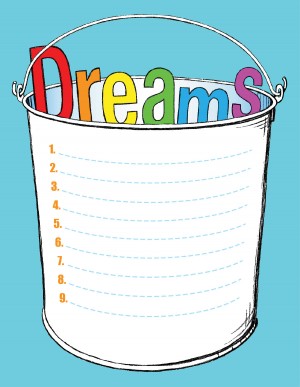 "A bucket with the word ""Dreams"" inside."