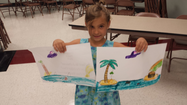 A girl draws a picture of a UFO flying from one island to another using colors that match her dress.