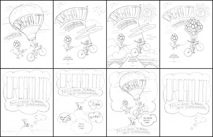 """Dream it!"" book cover thumbnails. These are almost all flying themes. Hot air balloon, a Leonardo da Vinci inspired air screw."