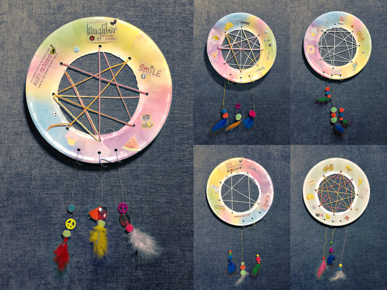 Make your own dreamcatchers. Five examples using arts and crafts materials: paper plates, yarn, paint, feathers, beads, stickers, markers.