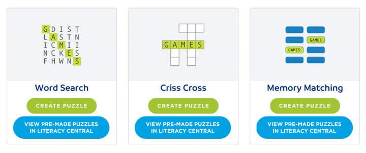 Examples of puzzles that can be made, like word search, criss-cross and memory matching.