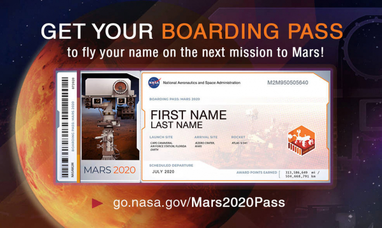 Boarding Pass for NASA's Mars 2020 mission with the planet Mars in the background