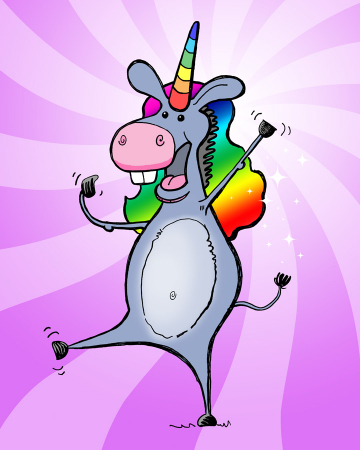 A donkey dressed in a rainbow-colored unicorn costume complete with horn, wig and glitter.