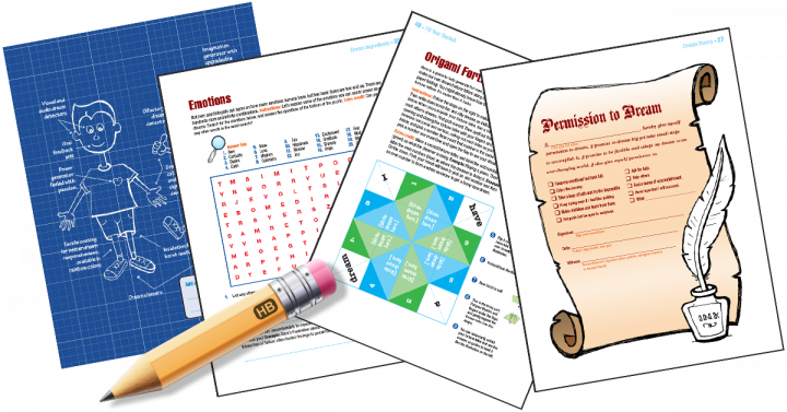 Fun, 4-color, pencil and paper games including a blueprint, word search, origami fortune teller and a permission slip to dream.