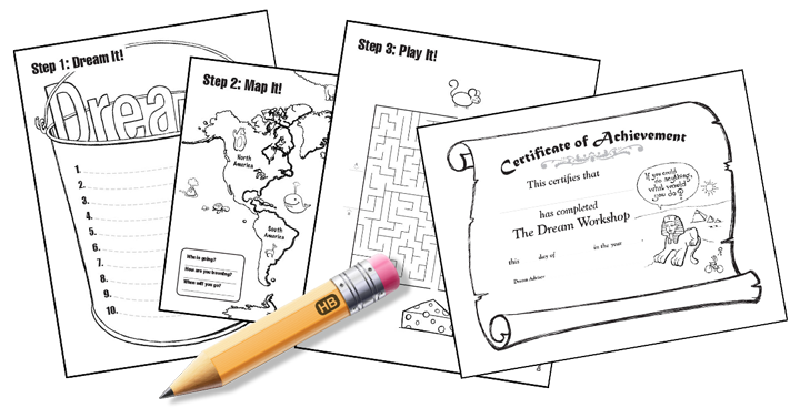 The Dream Workshop activities. There is an ice breaker, 3 worksheets and a certificate of achievement.
