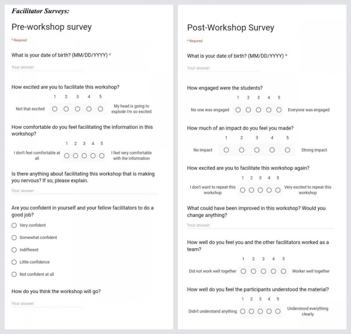 Dream Workshop facilitator surveys