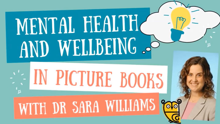 Mental health and well being in picture books. Screen shot of Dr Sara's Youtube video, an interview with Tiny Owl
