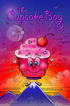 The Cupcake Boy. Illustration of a cupcake standing on top of a mountain.