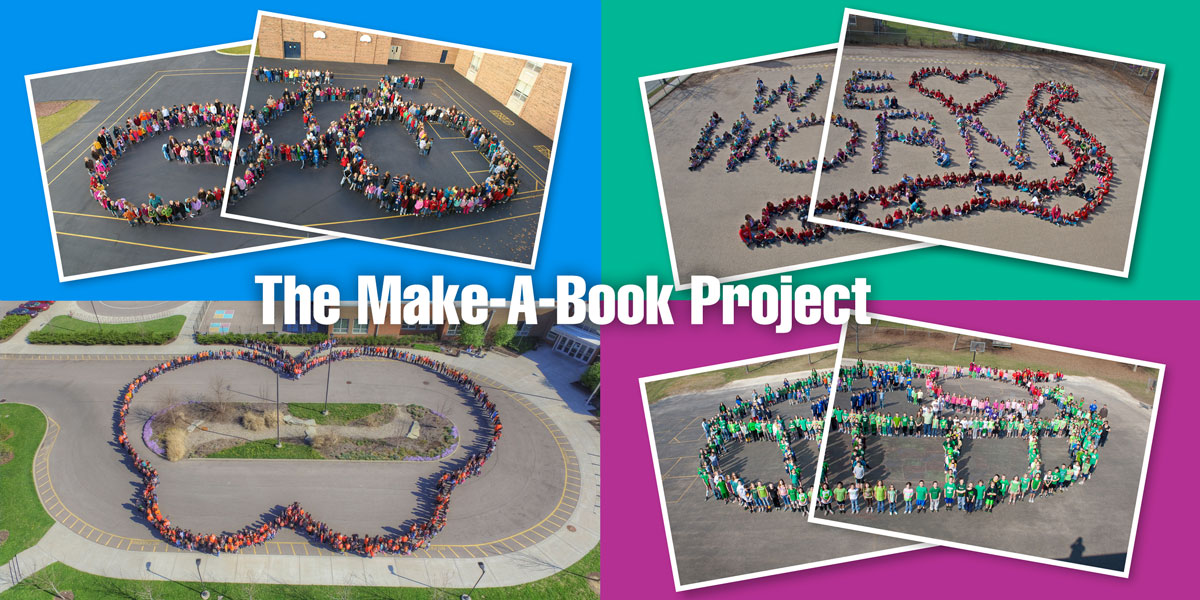 The Make-A-Book Project and author-in-residence program school photographs. Pictured here are all four of the aerial-view school photos. Kids standing in the shape of a bicycle, worm, butterfly and cupcake.